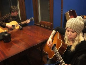 Nashville's Tim Easton and Austin's Jaimee Harris at work during last week's songwriters summit at House of Songs Ozarks. (Courtesy House of Songs)