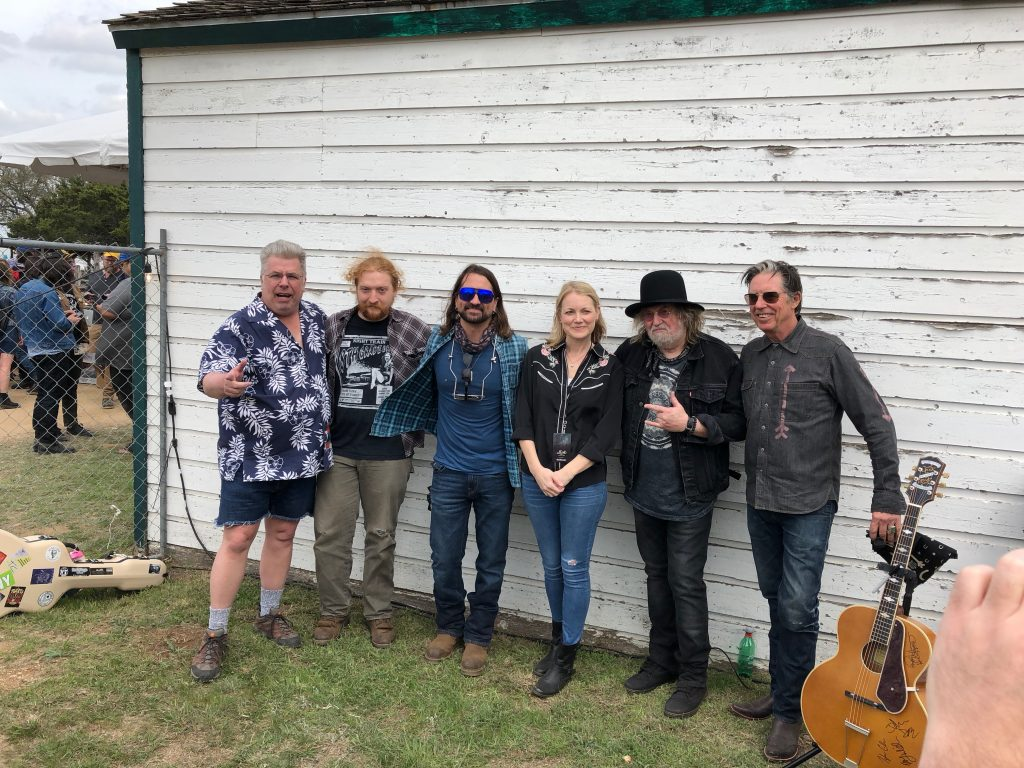 Chapel Sessions Lineup: (from left) Sirius/XM host Mojo Nixon, Tyler Childers, Cody Canada, Kelly Willis, Ray Wylie Hubbard, and John Doe. (Photo by Richard Skanse)