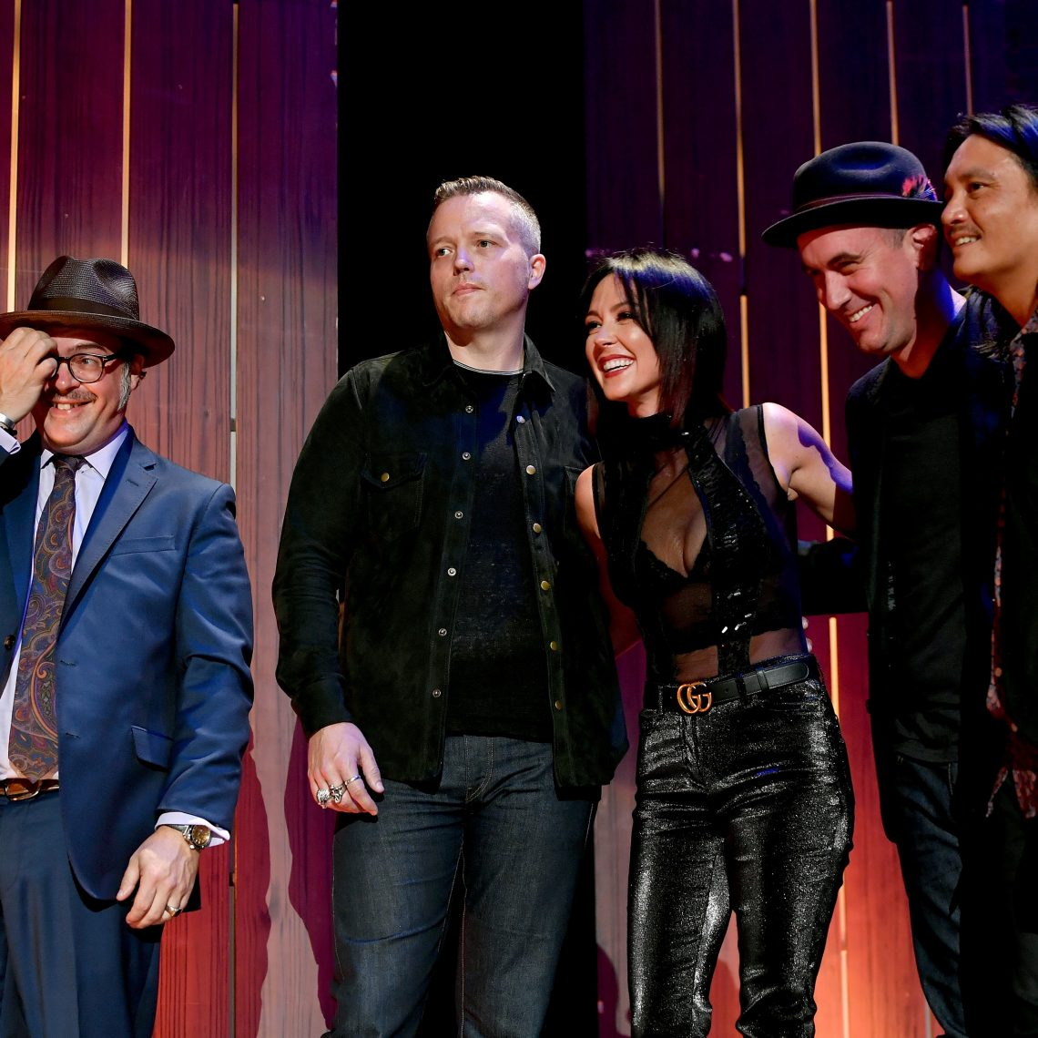 The Nashville Sound: Band of the Year winners Jason Isbell and the 400 Unit (L-R) Jimbo Hart, Isbell, Amanda Shires, Chad Gamble, and Derrick DeBorja. (Photo by Erika Goldring/Getty Images for Americana Music Association)