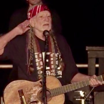 Willie Nelson at the Turn Out for Texas Rally for Beto O'Rourke in Austin on Sept. 29, 2018. (Screen grab from Beto O'Rourke's FaceBook Live video)