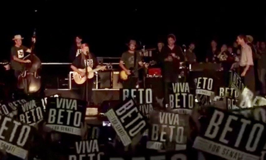 "Beto O'Rourke (far right) joining Willie Nelson and Family for ""On the Road Again."" (Screen grab from Beto O'Rourke's FaceBook Live video)"