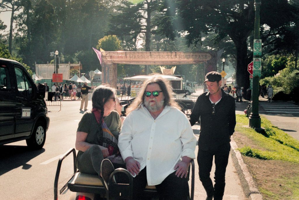 I Have Always Been Here Before: Roky Erickson, with wife Dana Morris and son Jegar Erickson, headed to the stage for his Hardly Strictly Bluegrass performance in San Francisco's Golden Gate Park. (Photo by Sam Bryant)