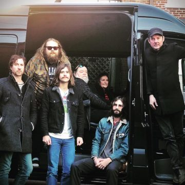 On the road with the Rok: (from left) Eli Southard, Caleb Dawson, Ryan Lee, Roky Erickson, Dana Morris, Sam Bryant, and Jegar Erickson. (Photo by Jegar Erickson)